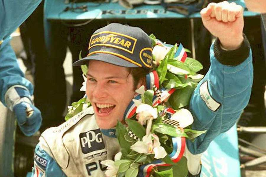 1995: Jacques Villeneuve celebrates victory at The Brickyard