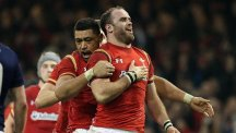 Jamie Roberts, right, scored a late try for Wales