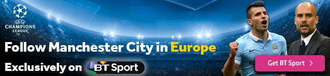 Watch Man City in Europe exclusively on BT Sport