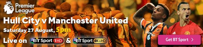 Watch Hull City v Manchester United exclusively on BT Sport