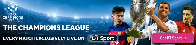 Watch the Champions League exclusively live on BT Sport