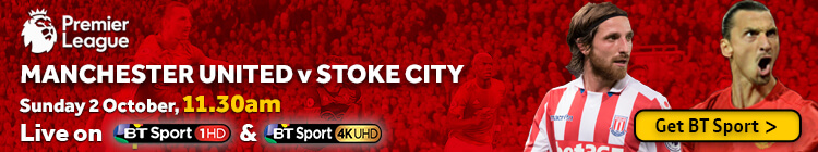 Watch Manchester United v Stoke City exclusively on BT Sport