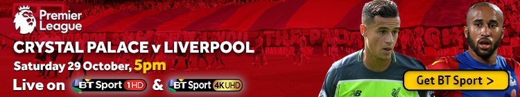 Watch Crystal Palace v Liverpool exclusively on BT Sport