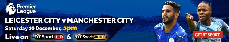 Watch Leicester City v Manchester City exclusively on BT Sport