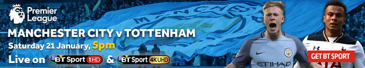 Watch Manchester City v Tottenham exclusively on BT Sport