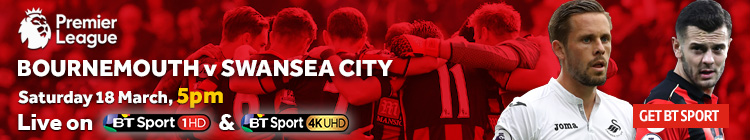 Watch Bournemouth v Swansea City exclusively on BT Sport