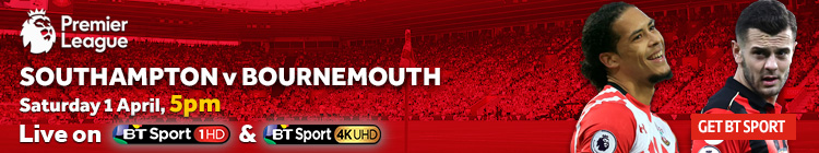 Watch Southampton v Bournemouth exclusively on BT Sport