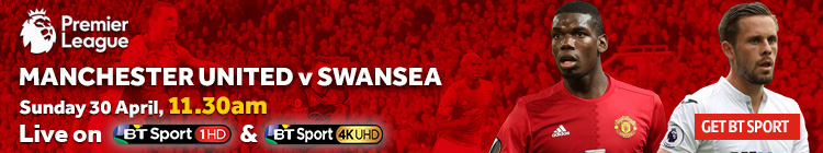 Watch Manchester United v Swansea exclusively on BT Sport