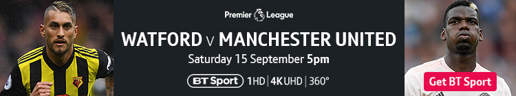Join now to watch Watford v Manchester United exclusively live on BT Sport