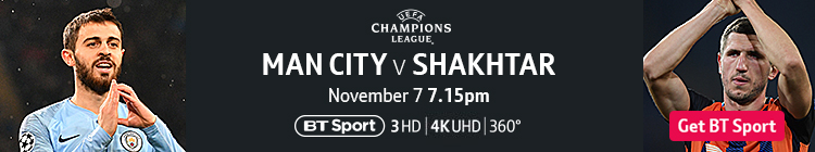 Join now to watch Man City v Shakhtar on BT Sport