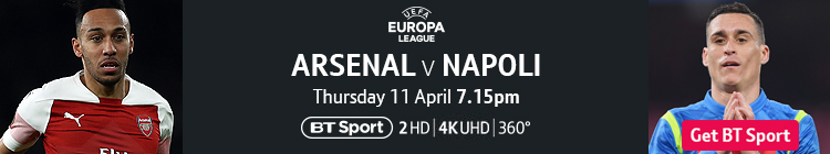 Join now to watch Arsenal v Napoli on BT Sport
