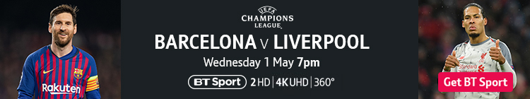Join now to watch Barcelona v Liverpool on BT Sport