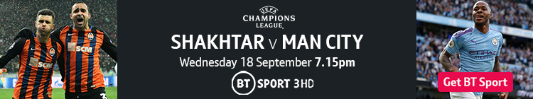 Join now to watch Shakhtar v Man City on BT Sport