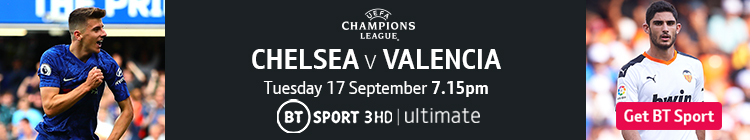 Join now to watch Chelsea v Valencia on BT Sport