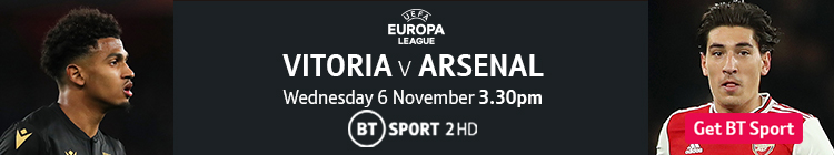 Join now to watch Vitoria v Arsenal on BT Sport