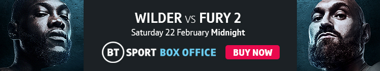 Watch Deontay Wilder v Tyson Fury 2 exclusively live on BT Sport Box Office