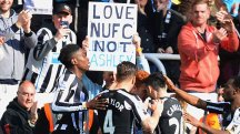A Newcastle fan displays his love for the club - not for owner Mike Ashley.