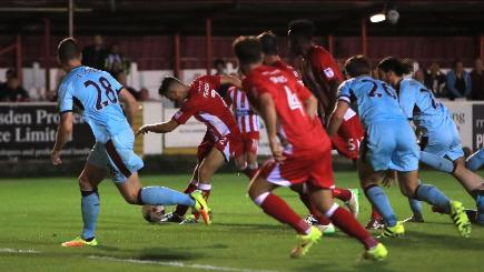 Matty Pearson, second left, secured a dramatic win for Accrington over Burnley in the EFL Cup second round