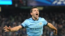 Manchester City's Sergio Aguero celebrates scoring his sides third goal of the game during the UEFA Champions League match at the Etihad Stadium, Manchester.