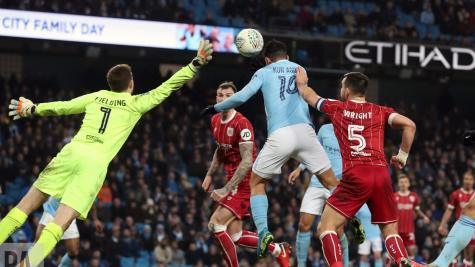 Aguero gives Manchester City first-leg advantage against Robins in Carabao Cup