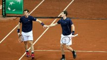 Great Britain's Andy Murray celebrates victory against Belgium's Ruben Bemelmans on day one of the Davis Cup final