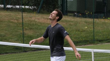 Andy Murray laughs
