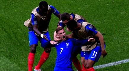 Antoine Griezmann double helps France knock out 10-man Republic of Ireland