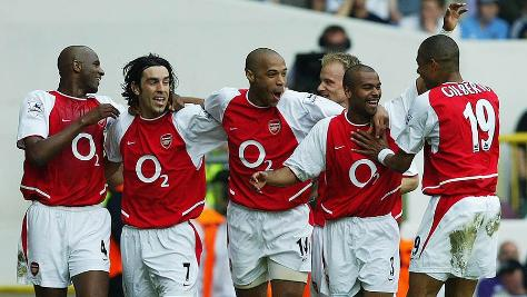 Arsenal celebrate a goal at White Hart Lane on the day they wrapped up the 2003-04 Premier League title