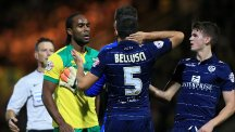 Cameron Jerome and Giuseppe Bellusci exchange words during Norwich's clash with Leeds on October 21