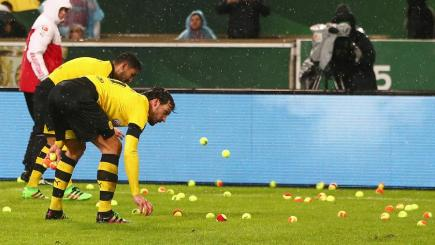 Borussia Dortmund fans stage tennis ball protest