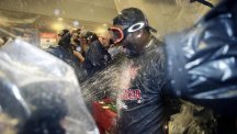 David Ortiz celebrates after the Boston Red Sox clinched the American League Eastern division (AP)