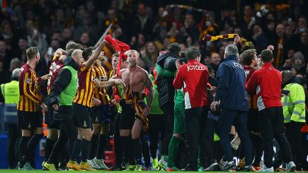 Bradford celebrate beating Chelsea at Stamford Bridge