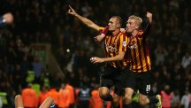 Bradford City's James Hanson celebrates scoring during the Capital One Cup Second Round match at Valley Parade, Bradford.