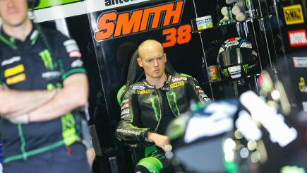 Bradley Smith prepares for action at the Dutch MotoGP