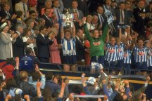 Brain Kilcline lifts the FA Cup for Coventry in 1987