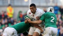 Luther Burrell, centre, has a calf strain and will miss England's training session on Wednesday