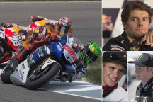 Cal Crutchlow (top right), Bradley Smith (bottom right) and Scott Redding will be in action at Silverstone