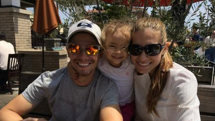 Casey Stoner with wife Adriana and daughter Ally