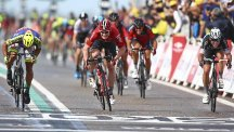 Andre Greipel, centre, finishes ahead of the chasing pack, including Mark Cavendish, right (AP)