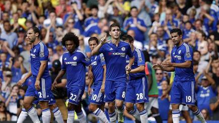 Chelsea celebrate a goal against Swansea