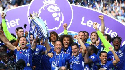 Chelsea with the Premier League trophy