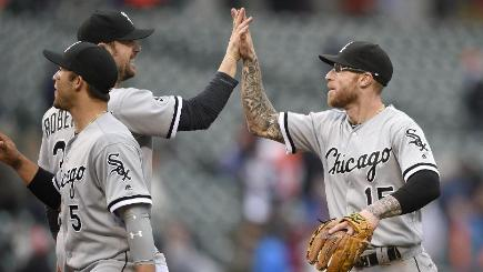 Brett Lawrie, right, and David Robertson celebrate a win for Chicago (AP)