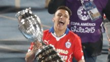 Alexis Sanchez's penalty delivered the trophy to Chile (AP)