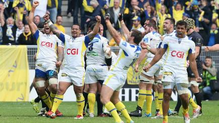 Clermont Auvergne celebrate beating Saracens in Saint-Etienne.