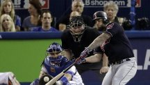 Cleveland Indians' Mike Napoli hit an RBI double during the first inning (AP)