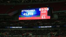 The big screen shows the attendance during the International Friendly at Wembley Stadium, London.