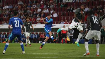 Slovakia's Marek Hamsik scores against Germany.