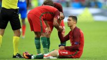 Cristiano Ronaldo, seated, will miss the UEFA Super Cup