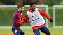 Daniel Sturridge, pictured right, trained with England on Monday morning
