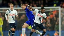 Branislav Ivanovic, left, and Danny Rose, right, battle for the ball during Tottenham's 2-2 draw at Chelsea.